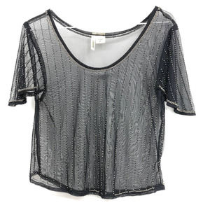 Passport black sheer mesh top with beading